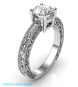 Picture of Engagement ring with side diamonds, filigree designs model, basket head