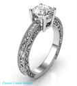 Foto Anillo de compromiso con diamantes laterales, modelo de filigrana, cabeza de cesta de