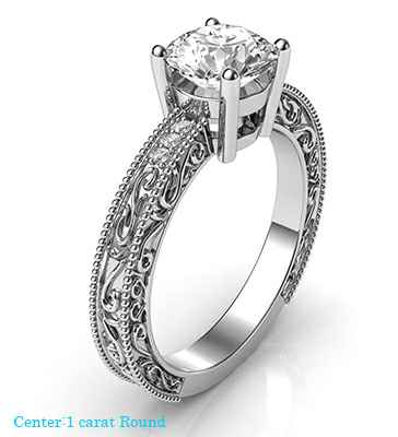 Engagement ring with side diamonds, filigree designs model, basket head