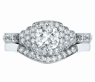 Conjunto nupcial de terrazas vintage con diamantes naturales de 0,38 quilates