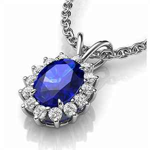 Blue Sapphire in oval halo diamonds pendant on a chain