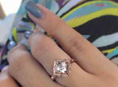 Vintage square halo engagement ring in rose gold