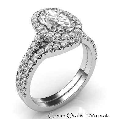 Delicate halo bridal set for ovals, 1.5 mm each band