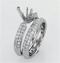 Picture of Bridal ring set with Pave set side diamonds