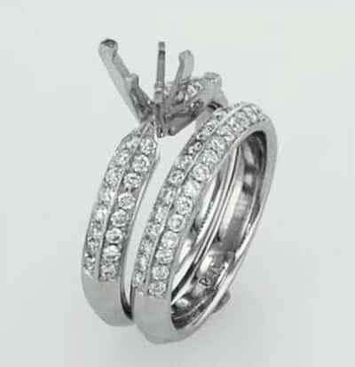 Anillo nupcial conjunto con diamantes laterales conjunto Pave