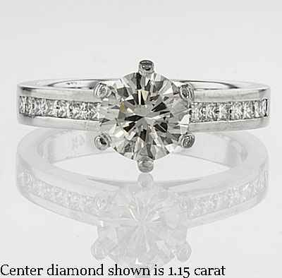 3mm channel set Martini prongs engagement ring