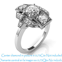 Picture of Art Deco engagement ring 0.42 carat side diamonds