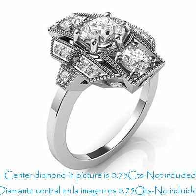 Anillo de compromiso Art Deco diamantes laterales de 0,42 quilates