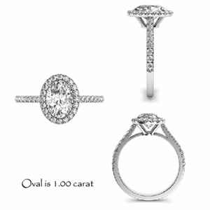 Oval diamond in oval Halo Engagement Ring