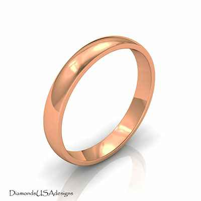 Plain wedding band 3mm, Low dome