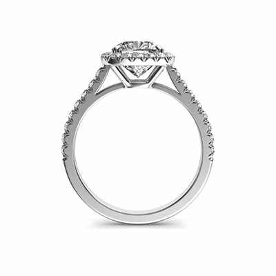 Delicate Cushion diamond halo for Cushion engagement ring