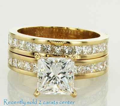 Set nupcial, diamantes Princesa de acento de 1,05 Ct