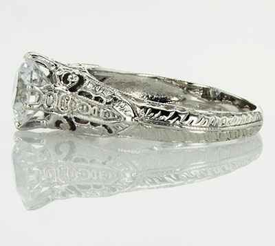 Vintage engagement ring replica hand engraved