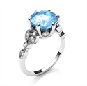 Picture of 2.5 carat Aquamarine and diamonds engagement ring