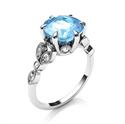 Foto Anillo de compromiso de diamantes y aguamarina de 2,5 quilates. de