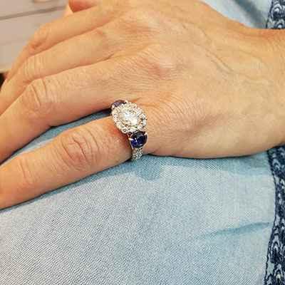Unique engagement ring for larger centers, 0.90 sides, 1.50 Sapphire