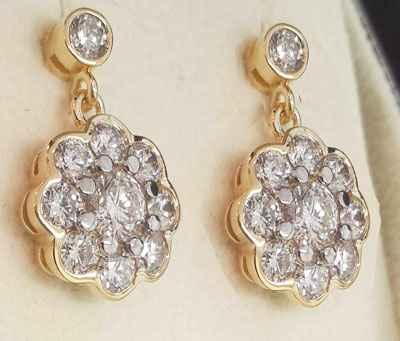 2.71 quilates de diamantes Pendientes de estilo vintage