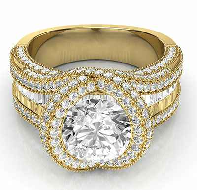 Round and Baguettes custom ring for 2 carat center