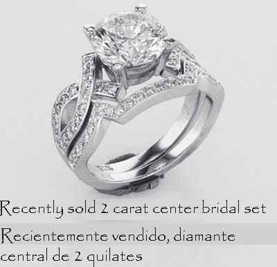 Anillo de compromiso Bowtie diamantes laterales 0.25CTW