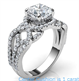 Foto Swirl eternity Halo Low/High profile engagement ring, 0.46 carat side natural diamonds de