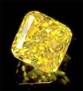 Colored Cushion diamond into Fancy vivid yellow color