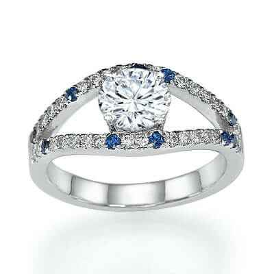 Low Profile Diamonds & Royal Blue Sapphires Engagement ring settings