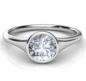 Front view of a bezel set engagement ring