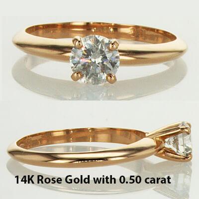 anillo de compromiso solitario de oro rosa de estilo Tiffany
