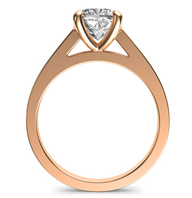Rose Gold Delicate solitaire engagement ring for Cushions and Princess diamonds
