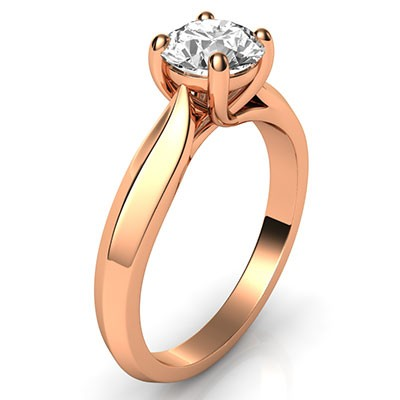 Rose gold knife edge Solitaire engagement ring