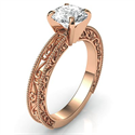 Picture of Filigree Designers model prongs head Rose Gold engagement ring