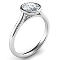 Picture of Delicate Low Profile bezel engagement ring for rounds-Leone