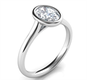 Picture of Delicate Low Profile bezel engagement ring for Ovals-Olivia