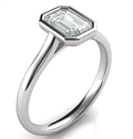 Picture of Delicate Low Profile bezel engagement ring for Emeralds-Kaney