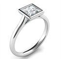 Picture of Delicate Low Profile bezel engagement ring for Princess diamonds-Angelina