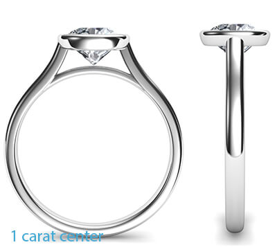 Delicate Low Profile bezel engagement ring for Princess diamonds-Angelina