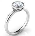 Foto Delicate Low Profile decorated bezel engagement ring for rounds- Whitney de