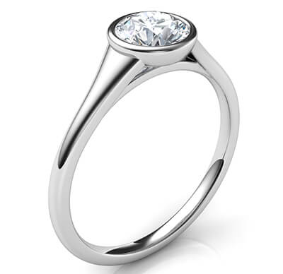 Sleek and elegant low profile engagement ring for rounds-Beyonce