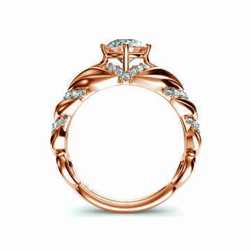 Designer's vintage engagement ring. Nature motif. 1/3 cts sides