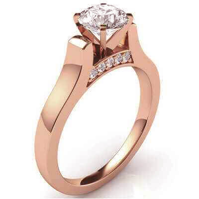 Designers Cathedral Rose Gold engagement ring with side stones