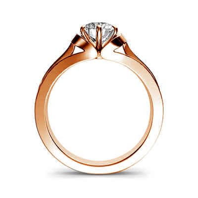 El anillo de compromiso de oro rosa vintage del solitario nido
