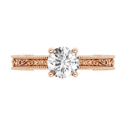 Anillo de compromiso de oro rosa de filigrana con diamantes laterales, modelo de diseños de filigrana, cabeza de canasta