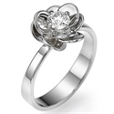 Picture of Viola Flower engagement ring set with 0.30 carat, minimum F VS2