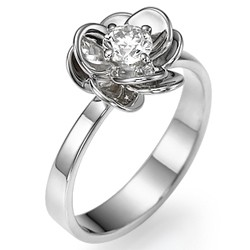 Viola Flower engagement ring set with 0.30 carat, minimum F VS2