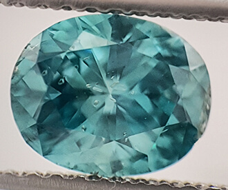 Picture of 1.01 Carats, Oval Diamond Sky Blue color enhanced, SI1 clarity NOT enhanced