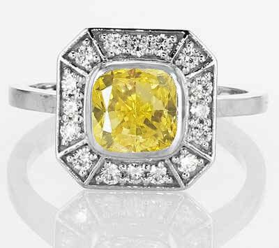 Anillo de compromiso Pippa Middleton con cojín amarillo canario de 1 quilate SI1