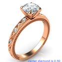 Foto Anillo de compromiso de estilo vintage con motivo de hoja de oro de Kimberly-Rose con diamantes laterales de