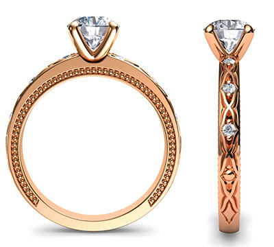 Kimberly-Rose Gold leaf motif vintage style engagement ring with side diamonds