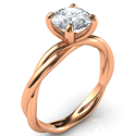 Picture of Crystal, the rope Rose Gold solitaire engagement ring for all shapes