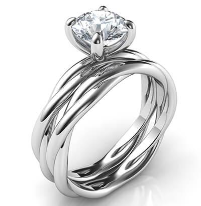 Juego de novia de cuerda de cristal para todas las formas y tamaños de diamantes